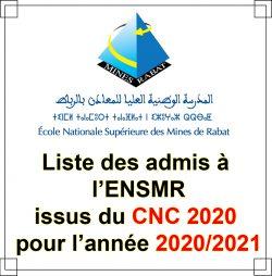 Liste des admis à l'ENSMR issus du CNC2020 pour l'année universitaire 2020/2021