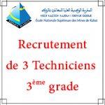 Listes des candidats retenus pour participer au concours pour le recrutement de 3 Techniciens 3ème grade