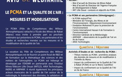 Avis de webinaire : Le PCMA et la qualité de l'aire : Mesures et Modelisations