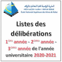 Listes des délibérations 1ère, 2ème et 3ème années de l'année universitaire 2020-2021