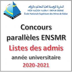 Listes des admis aux concours parallèles de l'ENSMR 2021