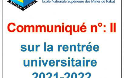 Communiqué n° II sur la rentrée universitaire 2021-2022 de l'Ecole Nationale Supérieure des Mines de Rabat (08/10/2021)